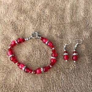Red crackle bead bracelet and earring set